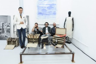 Rome designer Andrés Romo with Davide Dormino, Alessio de' Navasques and Giacomo Guidi with archives from Rome's 50s/60s shoe star Albanese.