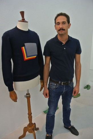 Mario Caruana and one of his Sicilian made sweaters.